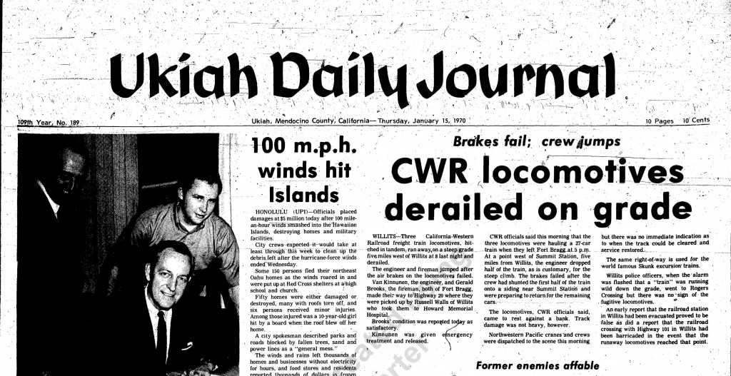 CWR Train Wreck 1970-1 as reported in the Ukiah Daily Journal