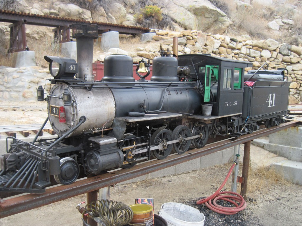 Joshua Tree & Southern 7 ½ inch Railroad 2-8-0 getting up steam