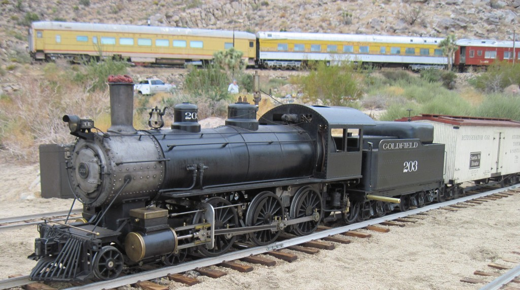 Joshua Tree & Southern 7 ½ inch Railroad 4-6-0 at rest in a siding