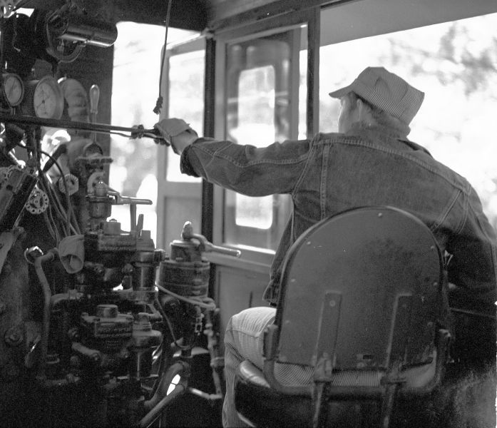 CWR engineer eases out the throttle on #46, the Super Skunk 2-6-6-2