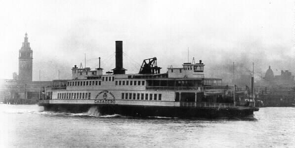 NWP's paddle wheeler Cazadero departs from the San Francisco Ferry building in 1920