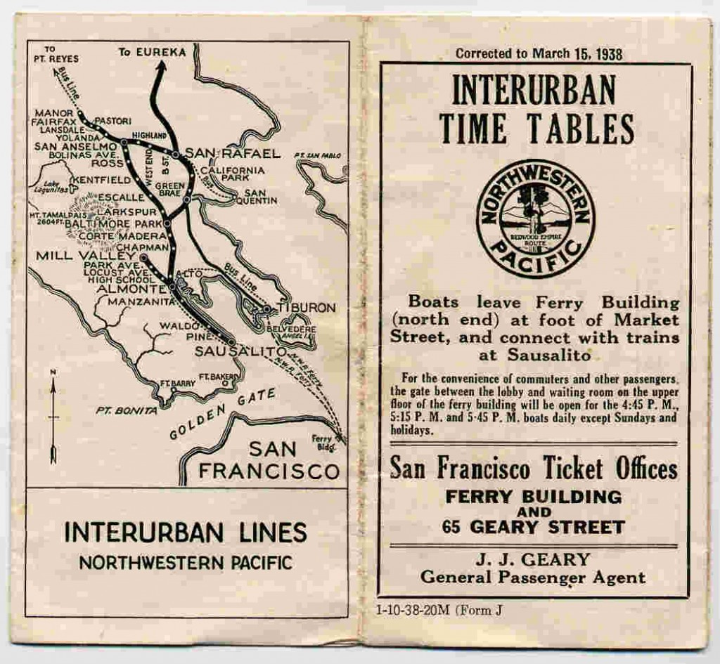 1938 Timetable for NWP's Marin Interurban Service