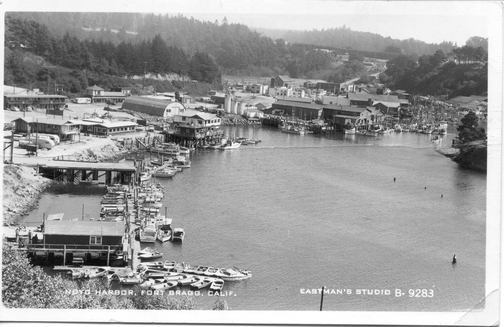 A view of Noyo Harbour in the 1950's from the high bridge