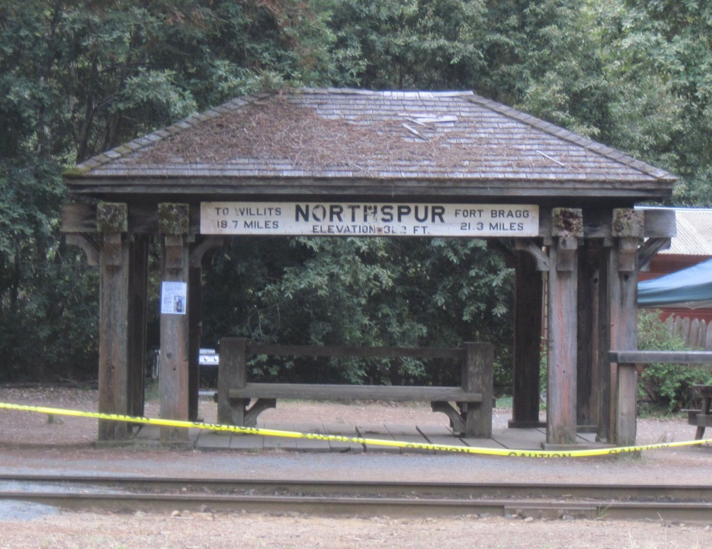 Northspur Depot showing mileages to each end of the Skunk line