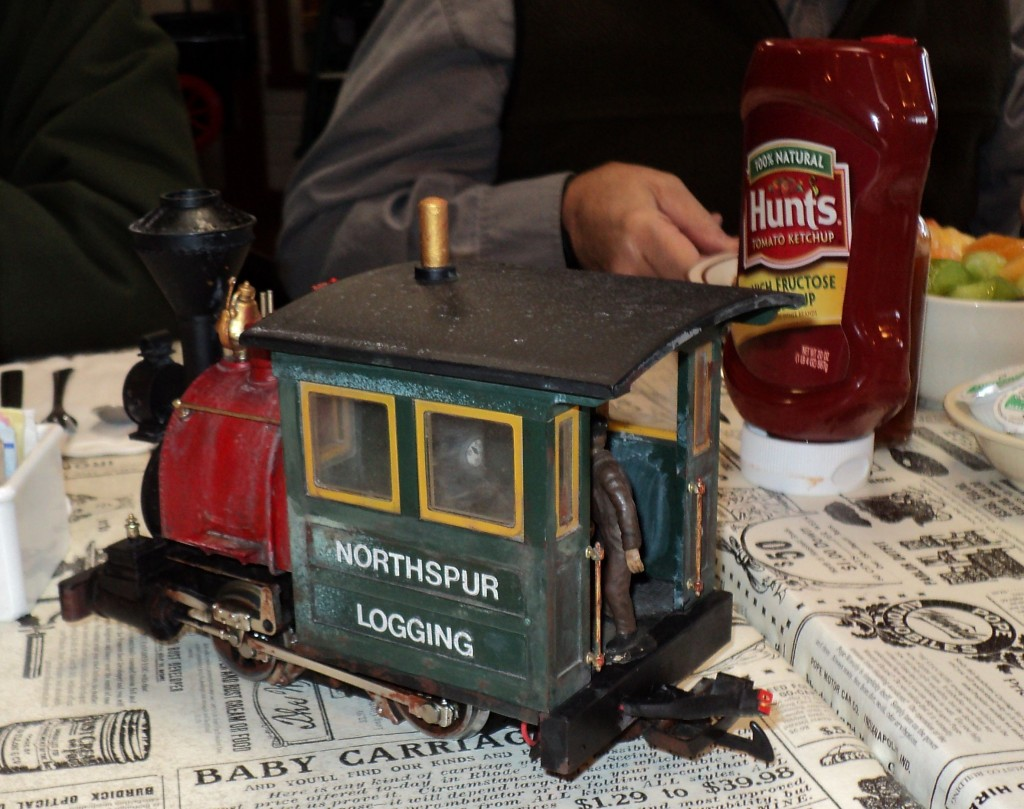 Northspur Logging Company 0-4-0 loc on display at the Club's informal wedneday brekkers meeting at the Fort Bragg deli