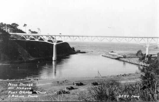 View of the new high bridge over the Noyo in the 1940's
