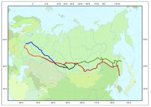 Route Map of The Trans-Siberia Railroad