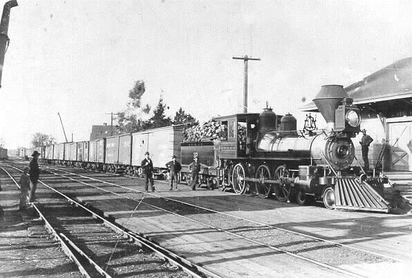 San Francisco & North Pacific engine 18, built by Rogers in 1889. SF&NP was a predecessor of NWP; this loco was later NWP 101. Engineer E. H. Reynolds stops his freight at Santa Rosa for a turn-of-the-century photo, ca. 1900.