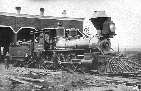 San Francisco and North Pacific #18, 4-6-0, built by Rogers in 1889. Became NWP 101 when roads were consolidated in 1907