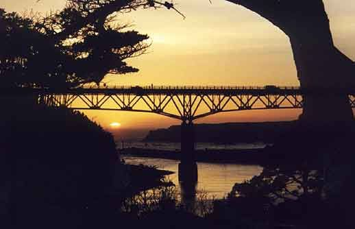 The fourth bridge across the Noyo at sunset