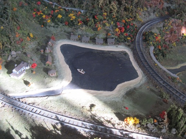 Pond on the American Flyer layout at the Eli-Whitney Museum