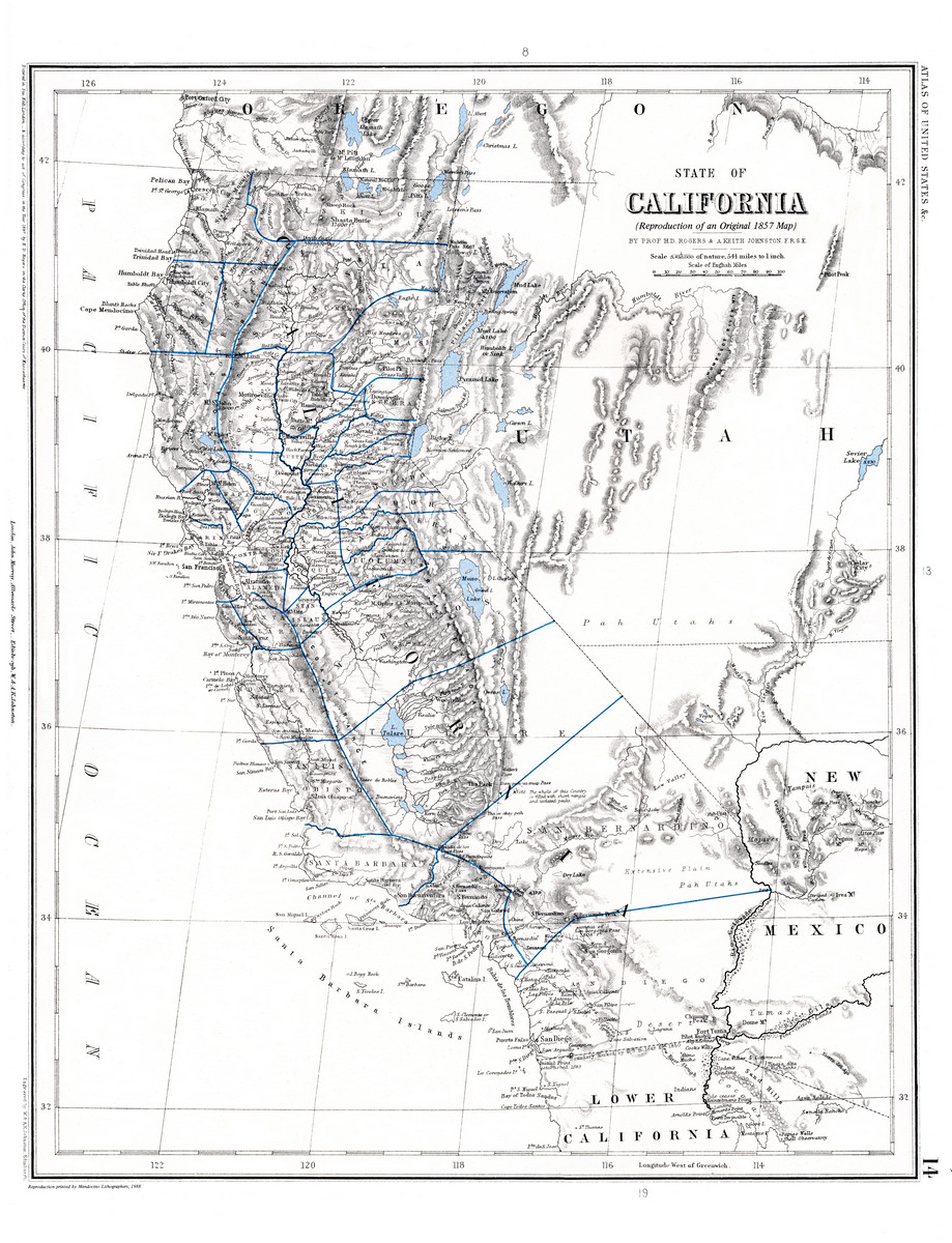 1857 Map Of California With Detail Of The Mendocino Coast Hobo Laments