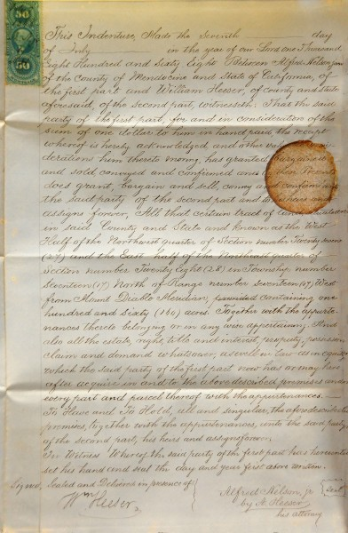 Deed for purchase of land by William Heeser