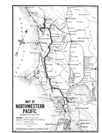 Map of the NWP route from Tiburon to Cazadero