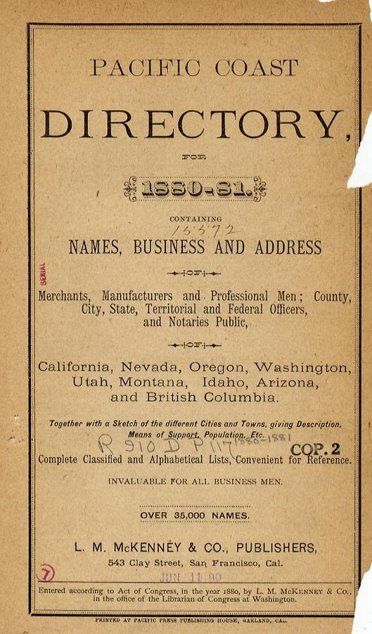 Mc kenny s pacific coast business directory for california for California company directory