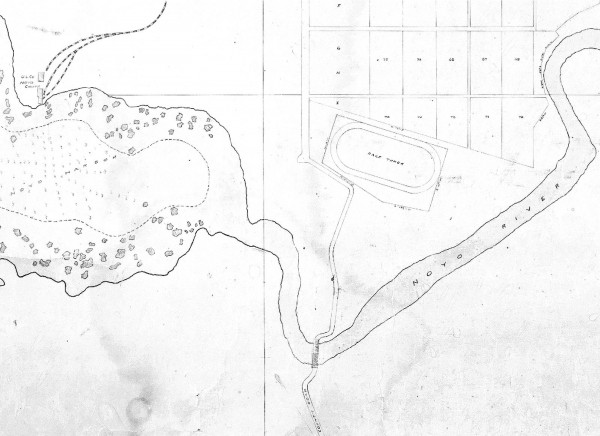 1897 Map of Noyo River showing location of race track and rail lines leading to wire loading place