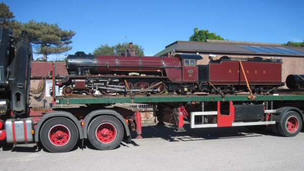 Lorry with steam engine on board