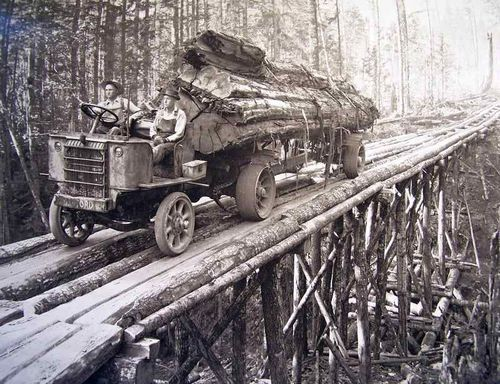 Imagine how this trestle shook when this truck and its load crossed
