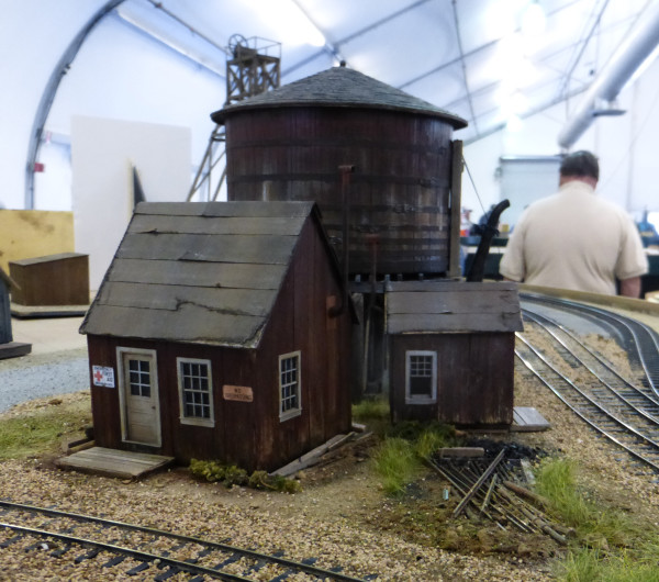 Old buildings and water tank on the G Scale layout