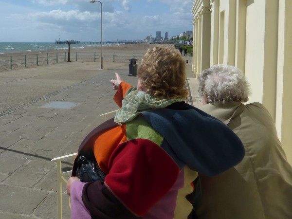 Wife Sarah and step mum Mavis looking toward Brighton pier from Black Rock the end of Volks railway line