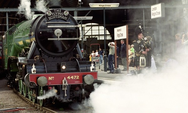 Flying Scotsman at King's Cross station in London in 1999