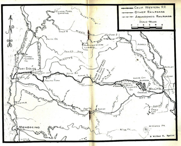 Map of Fort Bragg and vicinity railways circa 1925