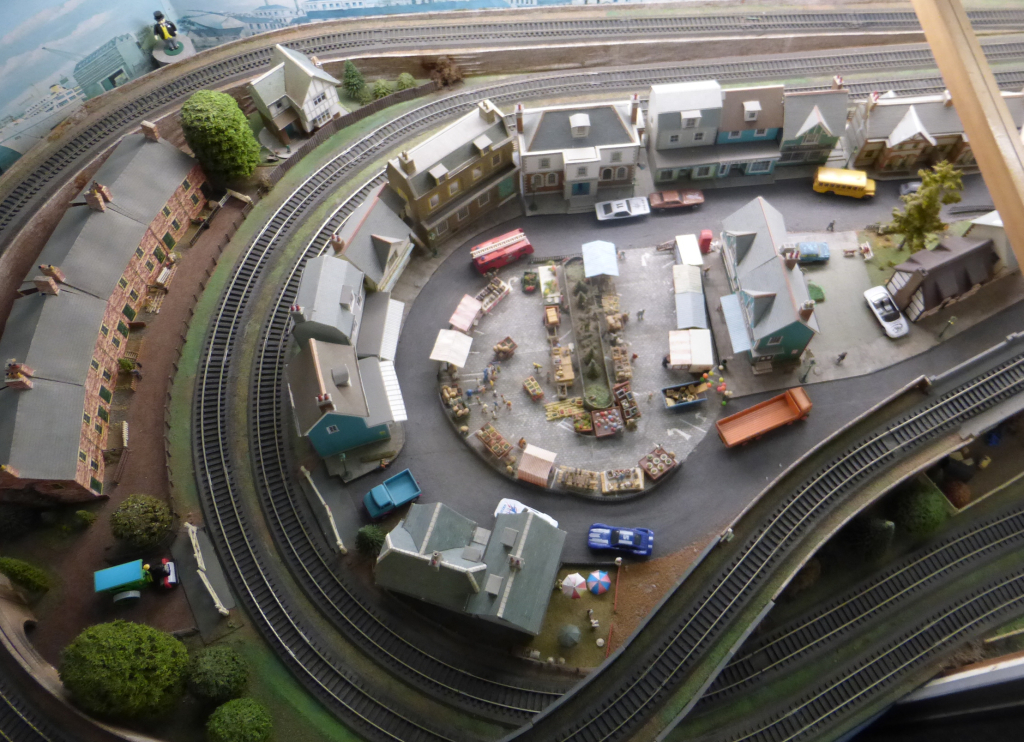 Looking down on a local market on an HO layout