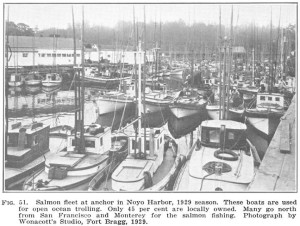 1929 picture of fishing boats in Noyo Harbour