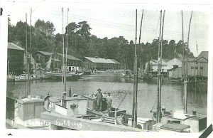 1930 View of fishing boats in Noyo Harbour looking seaward