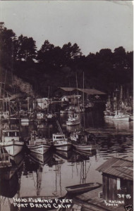 1940 View of fishing fleet in Noyo harbour