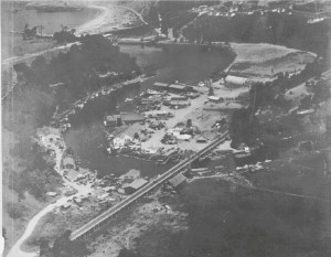 1949 Aerial View of Noyo Harbour showing 5th Noyo Bridge
