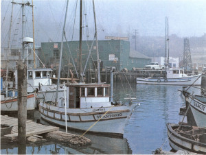 1970 View of fishing boats in Noyo harbour