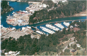 1970 Wide angle aerial view of Noyo Harbour