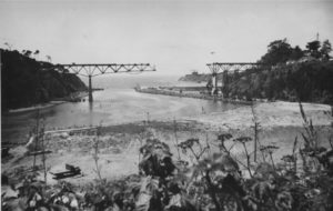 1948 Long distance view of 6th Noyo Bridge under construction