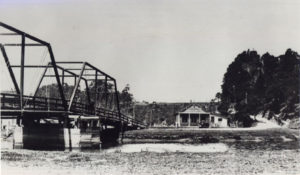 1890 Second Noyo bridge looking toward building on far bank believed to be the White and Plummer store