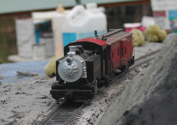 0-4-0 loco rounding the curve by the Ten Mile River on the Mendocino Coast