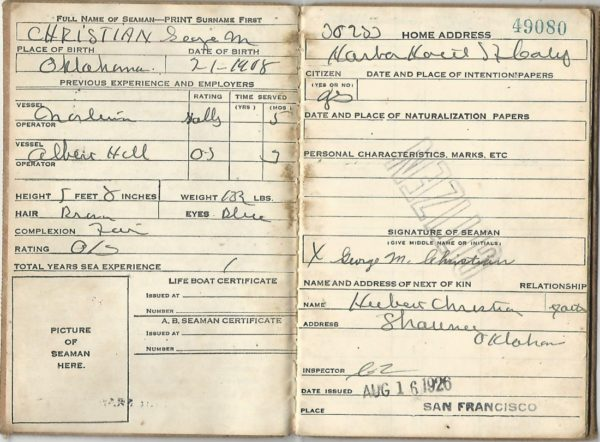 "George Christian's ""certification and discharge book"""