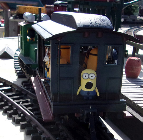 HOLD IT we've forgoton two minions - scene from the Mendocino Coast Model Railroad