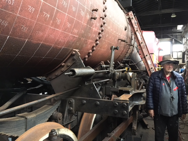 Club historian Tony Phillips checking out the thickness of the boiler