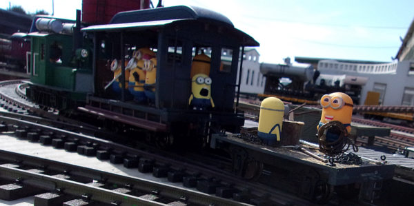 Minions escaping with a MOW on the Mendocino Coast Model Railroad