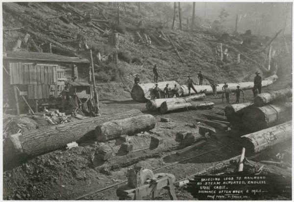 Loading logs before there were loading booms