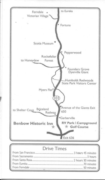 Map showing location of the Benbow Inn