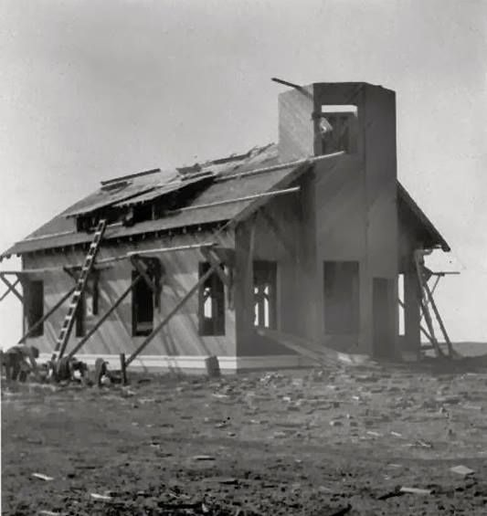 Point Cabrillo lighthouse under construction