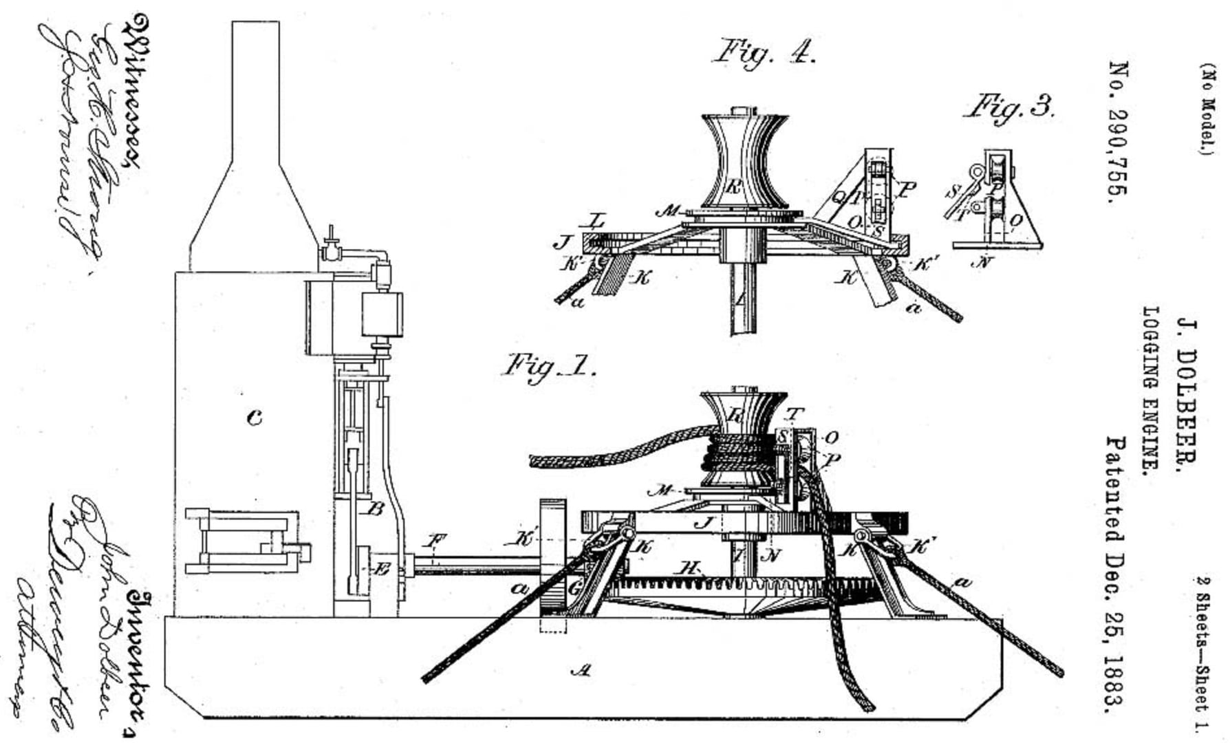 J  Dolbeer's patent application for a steam donkey | Hobo