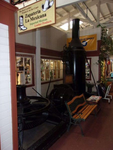 Capstan type steam donkey in the Deli Mall in Fort Bragg