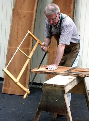 Traditional Bow Saw in use