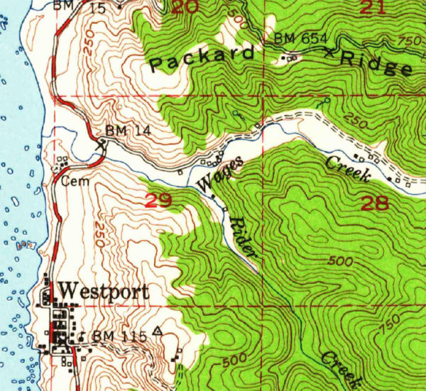 Westport and Wages Creek from a USGS Topo Map