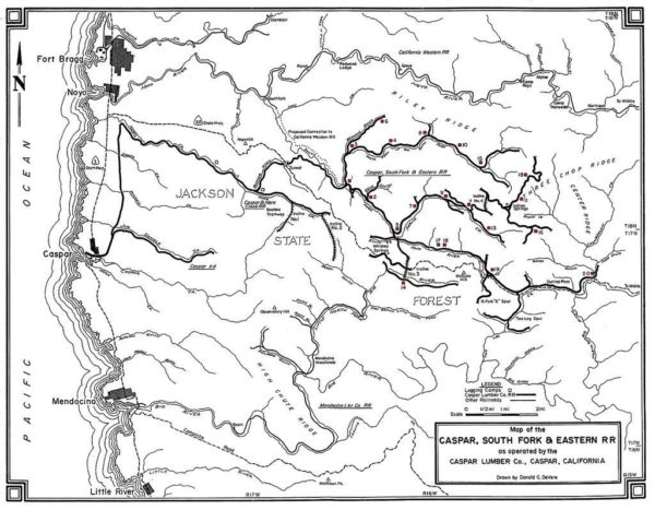 Caspar, South Fork & Eastern R. R. Map