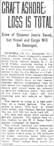 1913 cutting about the S. S. Jeanie