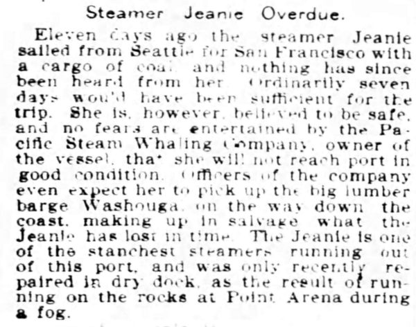 Newspaper cutting about the S.S Jeanie